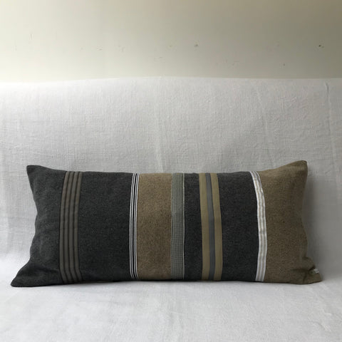 Grey (1) Mixed Fabric Stripe Cushion