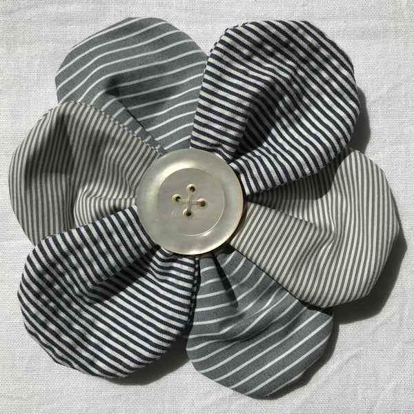 Flower Brooch (grey stripes)