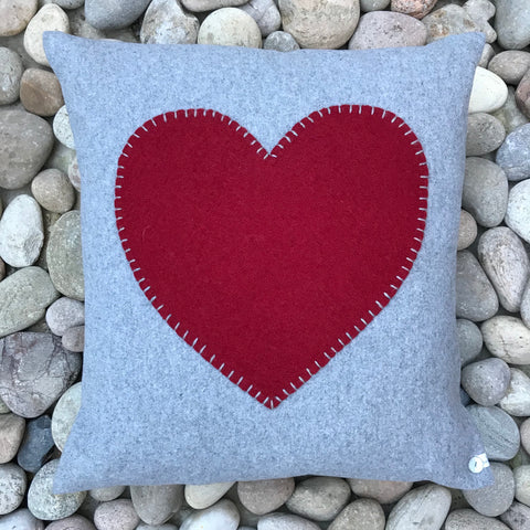 Red Heart on light Grey Wool Cushion