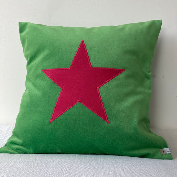 Velvet Star Cushion (green)