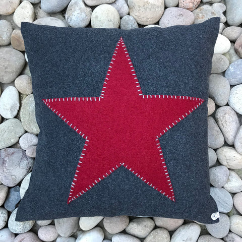 Red Star on Grey Wool Cushion