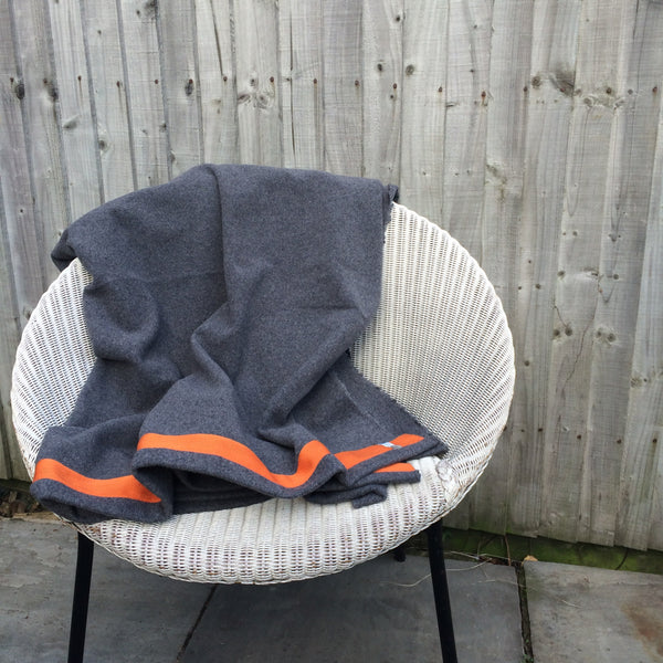 Wool Blanket (dark grey/orange)
