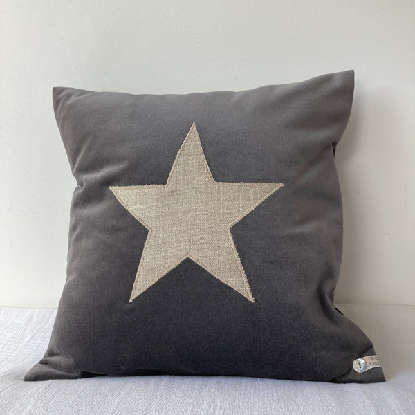 Velvet Star Cushion (grey)