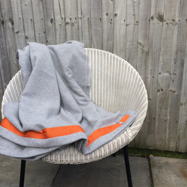 Wool Blanket (light grey/orange)