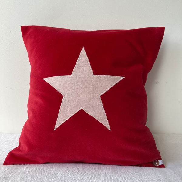 Velvet Star Cushion (red)