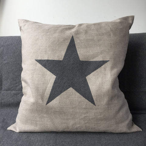 Star Cushion large (nat linen)