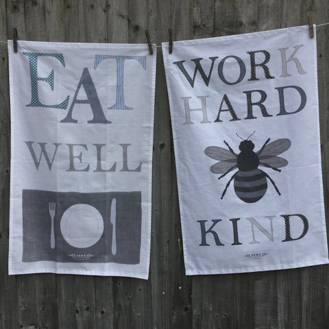 WORK...& EAT... 2 x Tea Towel