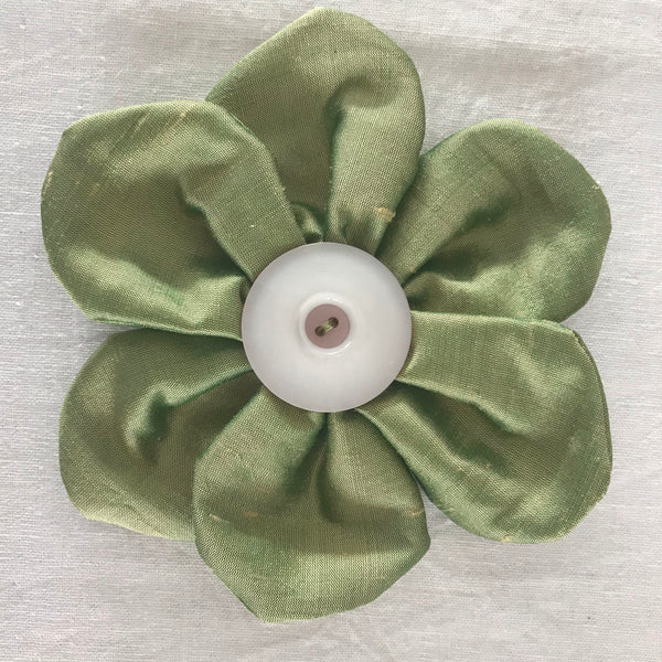 Flower Brooch (sage silk)