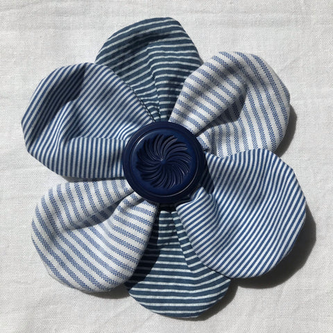 Flower Brooch (blue stripes)