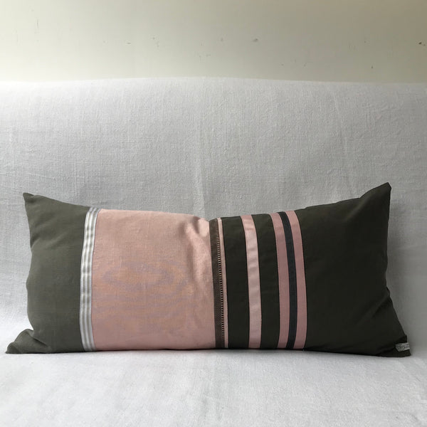 Olive/ Pink Mixed Fabric Stripe Cushion