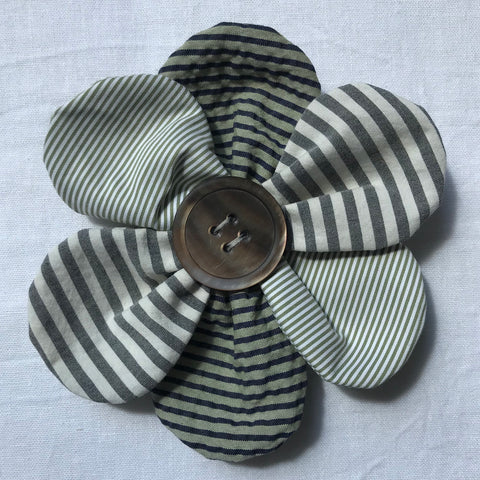 Flower Brooch (green stripes)