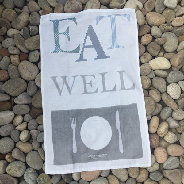 EAT WELL Tea towel