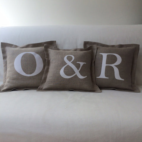 Personalised Letter Cushion, Linen
