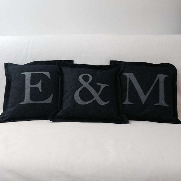 Personalised Letter Cushion, Denim