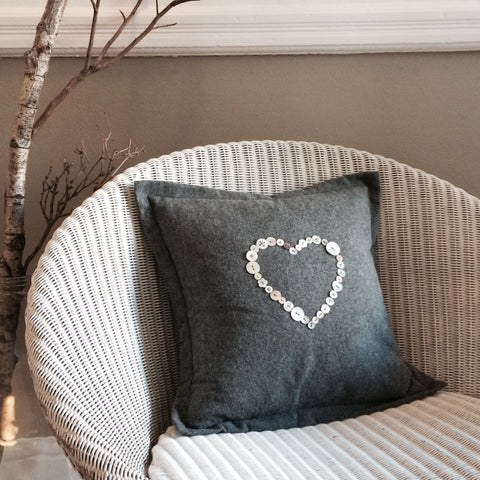 Button Heart Cushion, Cotton