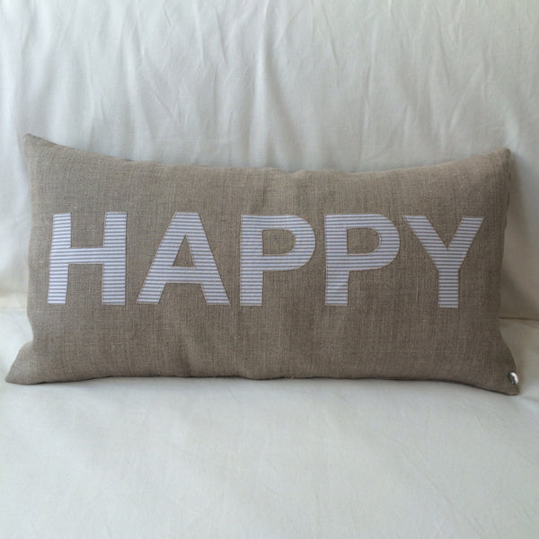 HAPPY/SAD Cushion, Linen