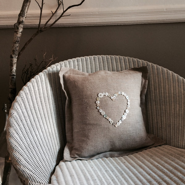 Button Heart Cushion, Linen