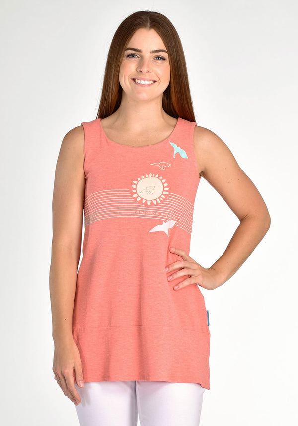 FOUGERE - Coral sleeveless tunic