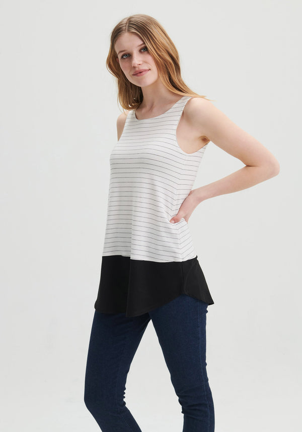 CHLOE - White long sleeveless top with stripes