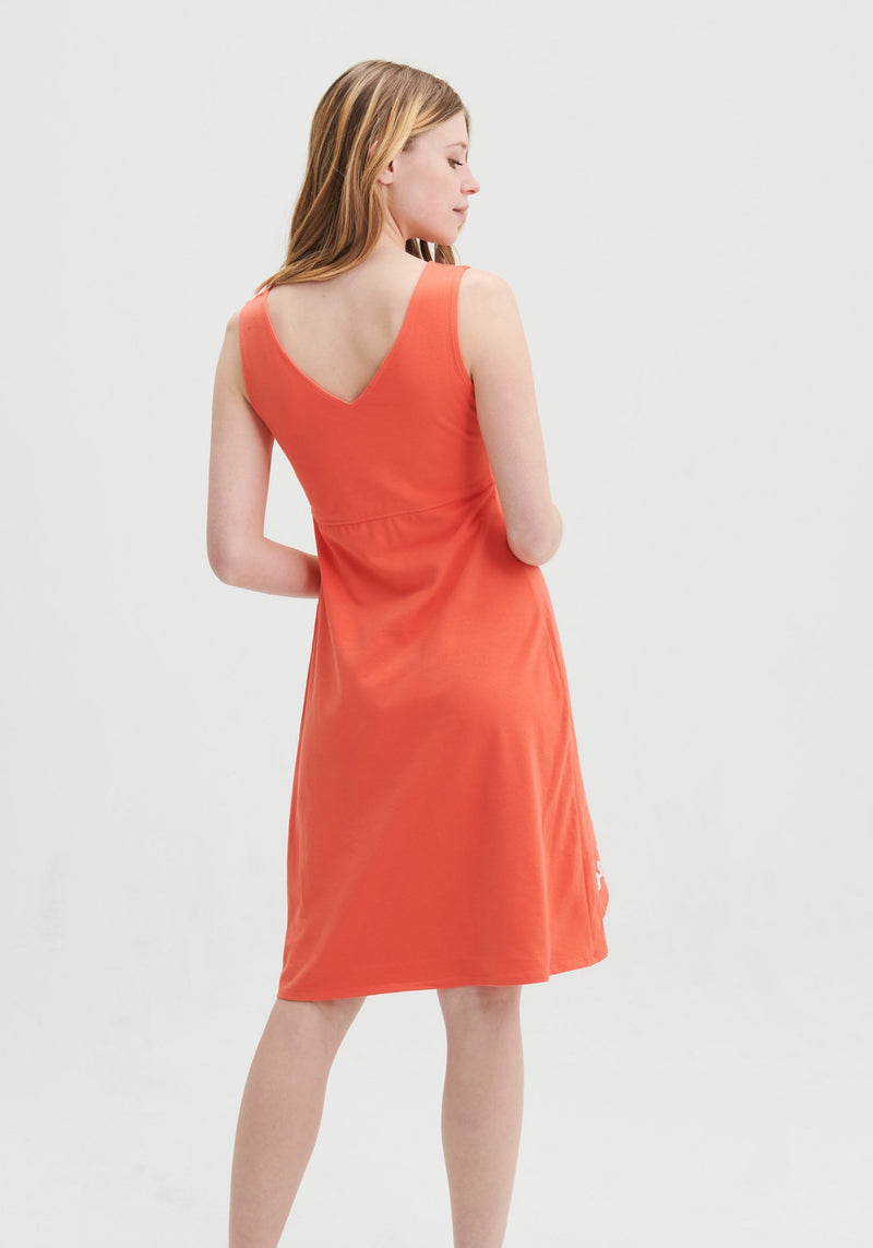 CAPUCINE - Coral sleeveless dress