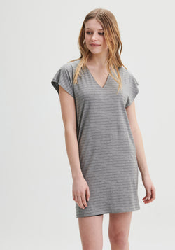 ROMY - Loose fit striped grey dress