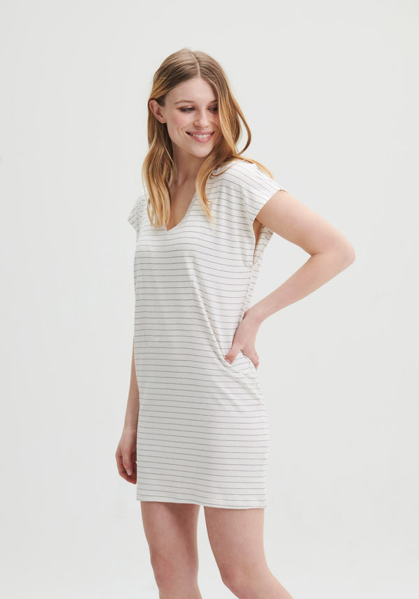 ROMY - Loose fit striped white dress