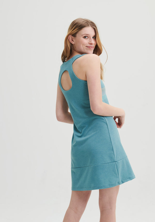 ZAHARA - Open back teal dress