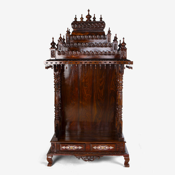 Traditional Rosewood Mandir with Inlay