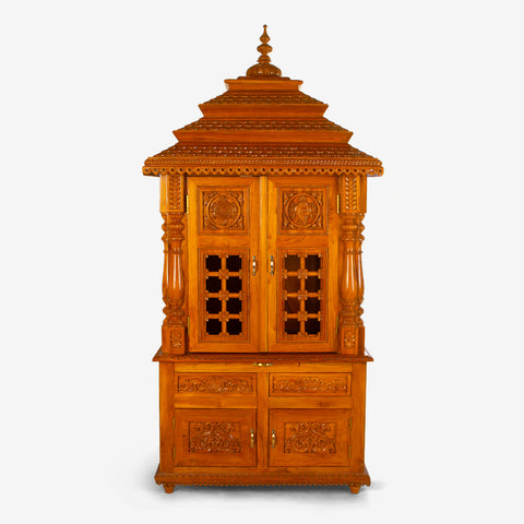 Contemporary Teakwood Mandir with Doors | Online home decor