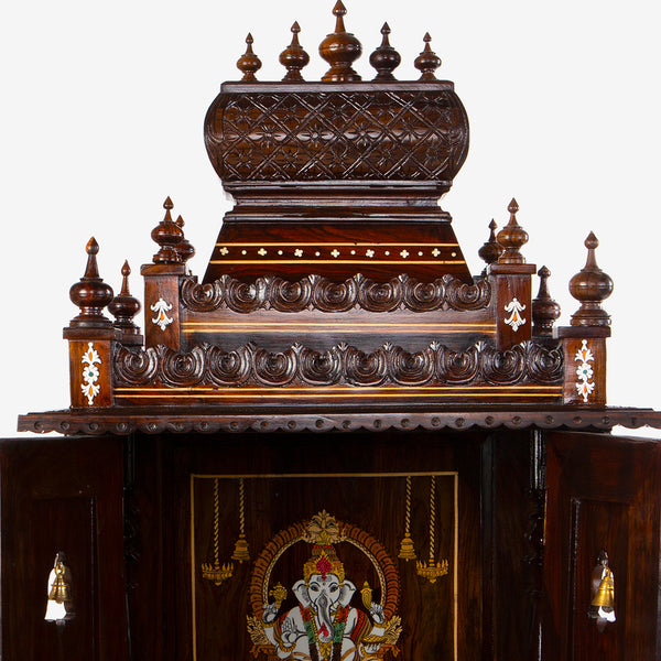Teakwood Mandir with Lord Ganesha Inlay and Doors