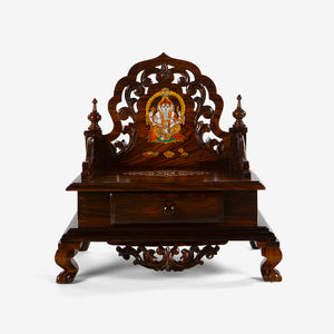 Rosewood Tabletop Mandir with Inlay & Carving | Pooja mandir for home online