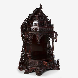 Intricately Carved Rosewood Mandir | Online rosewooden mandirs