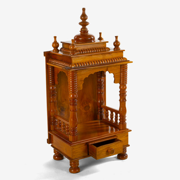 Teakwood Traditional Mandir with Drawer
