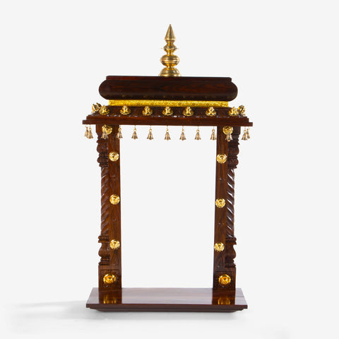 Rosewood Wall Mounted Mandir with Metalwork