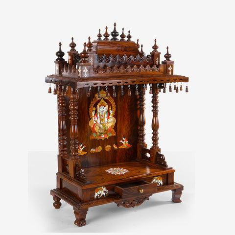 Teakwood / Rosewood Mandir with Lord Ganesha Inlay