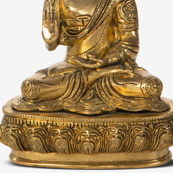 Buddha Statuette on a Carved Pedestal