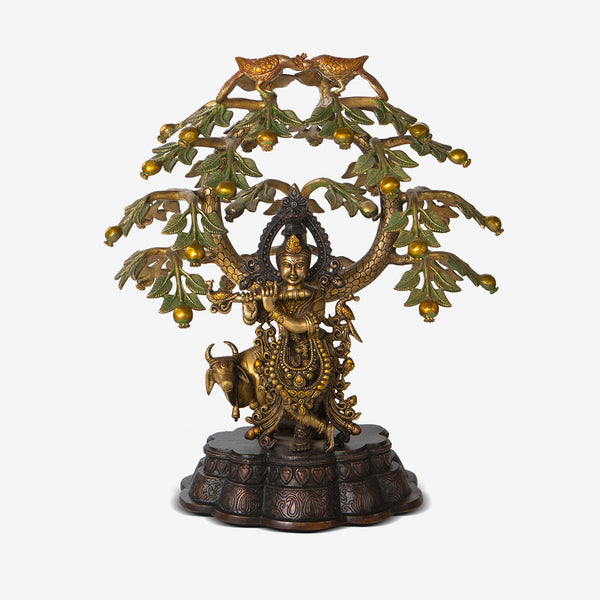 Brass Krishna Under A Tree
