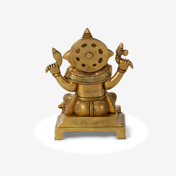 Brass Ganesha Idol On Pedestal