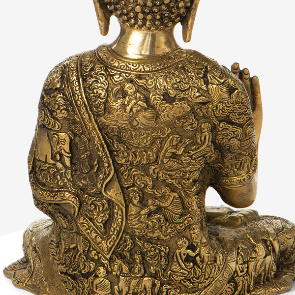 Golden Buddha with Carved Back
