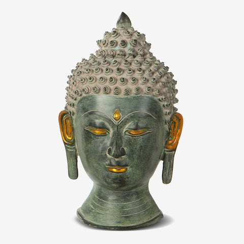 Buddha Brass Bust in Antique Green Finish