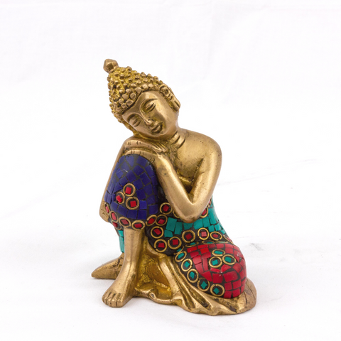 Brass Buddha Idol with Meenakari