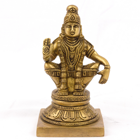 Brass Carved Aiyappa Swamy Idol