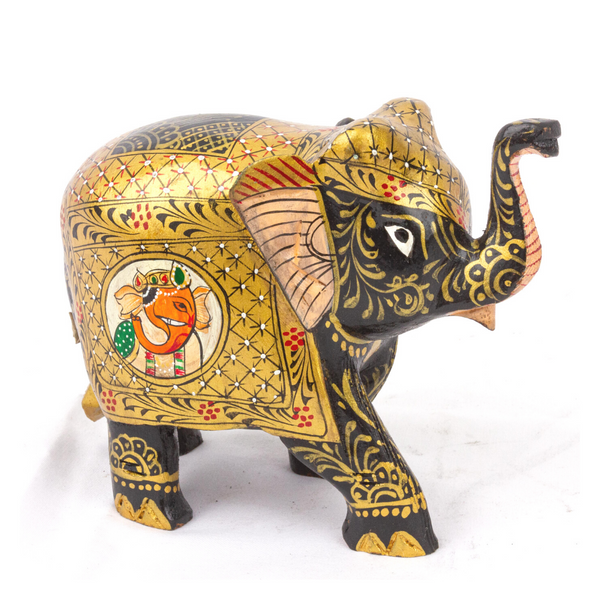 Hand Painted Elephant in Wood