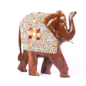 Handcrafted Wood Elephant with Stone Work