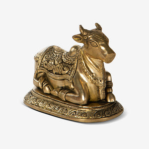 Carved Nandi Brass Idol