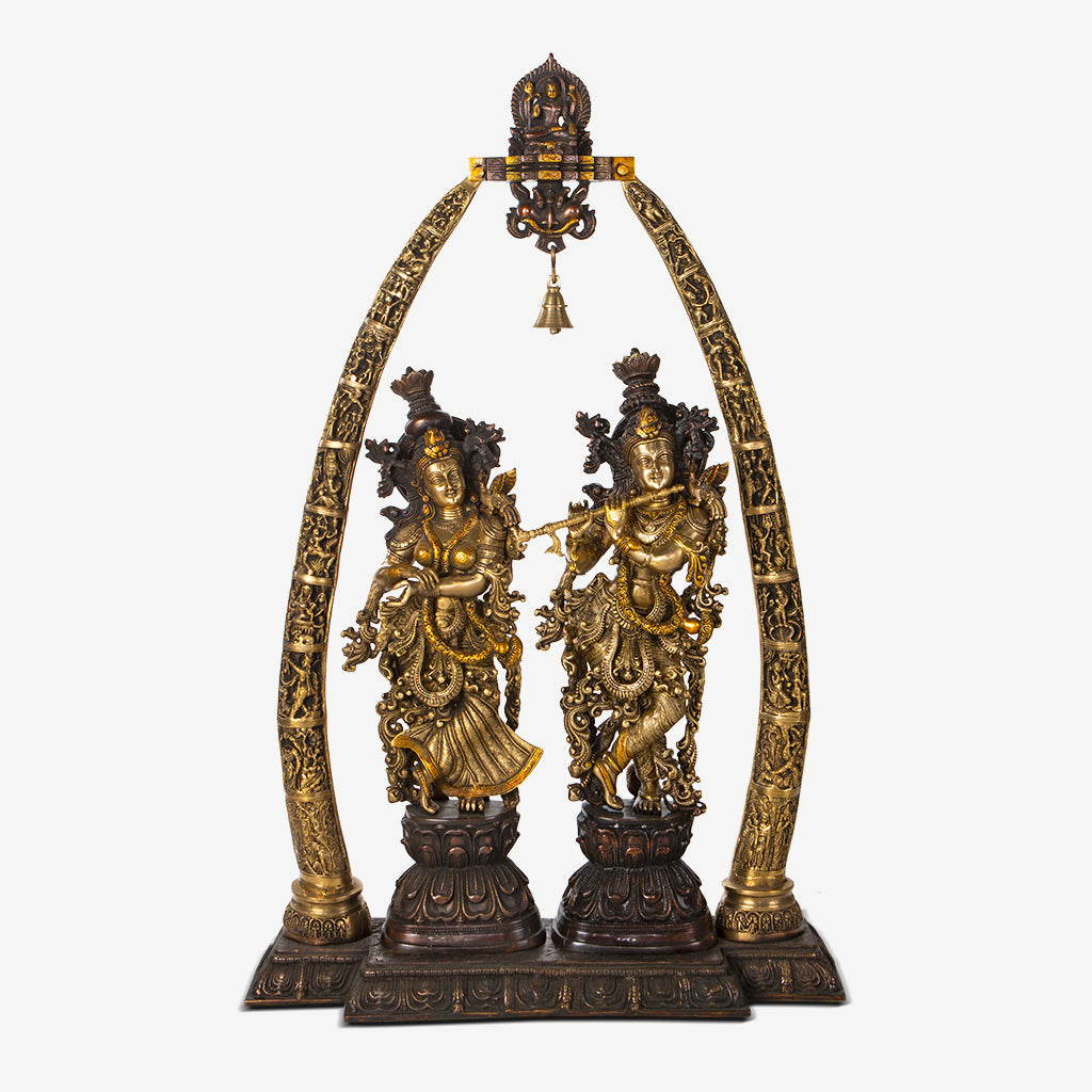 Brass Radha Krishna Under An Arch