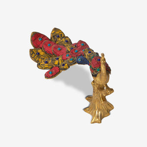 Peacock Statuette with Red Meenakari Work
