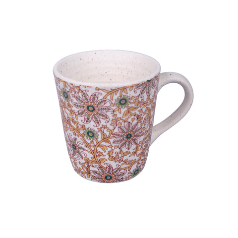 Floral Stoneware Coffee Mugs