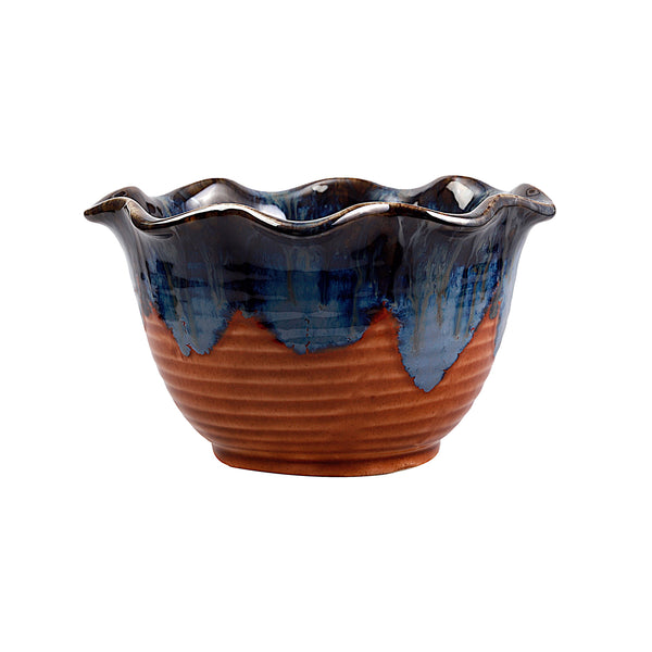 Indah Indigo & Brown Waves Bowl