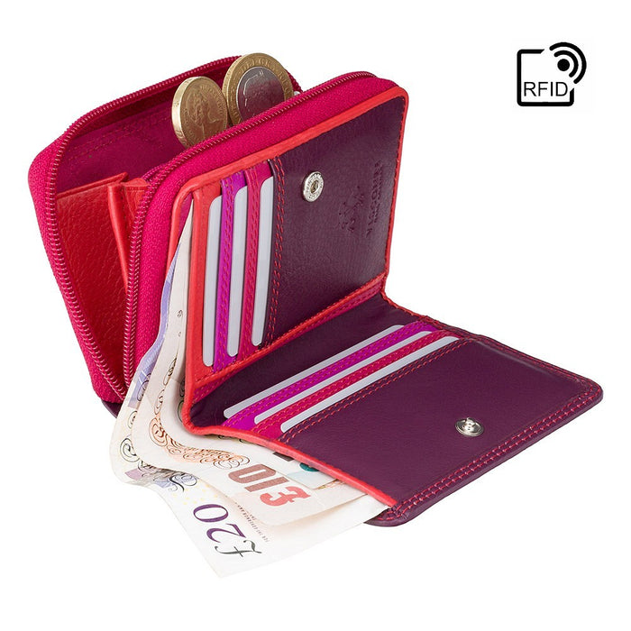 Plum VISCONTI Best Selling RFID Purse Hawaii Zipped Coin Purse With Card Holding Wallet RB53 Rainbow Collection